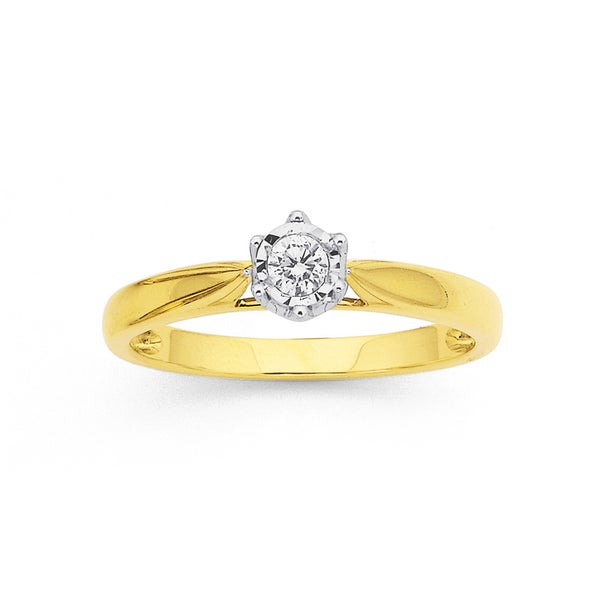 .10ct Diamond Solitaire Ring in 9ct Yellow Gold