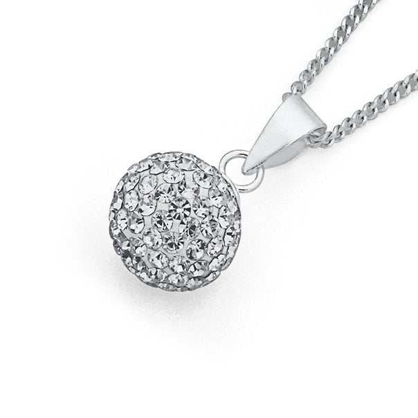 10mm Crystal Pendant in Sterling Silver