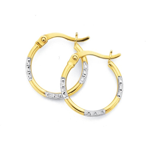 15mm Diamond Cut Hoop Earrings in 9ct Yellow and White Gold