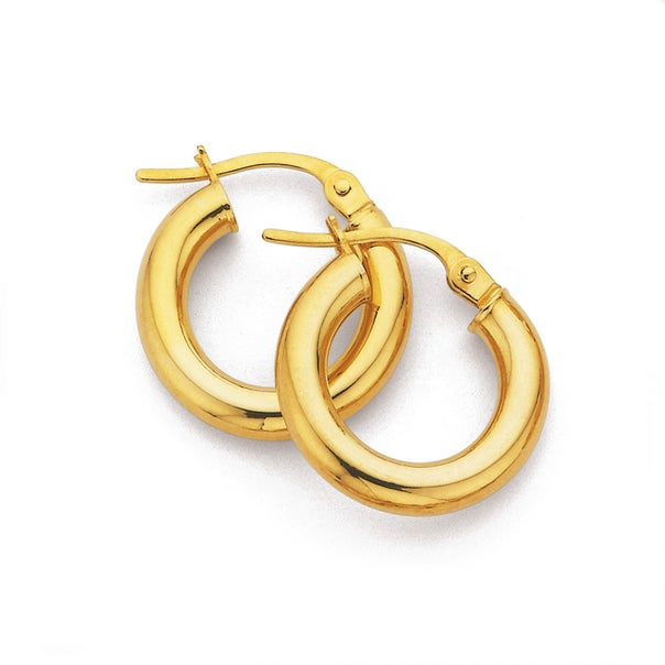 16mm Bold Polished Hoop Earrings in 9ct Yellow Gold