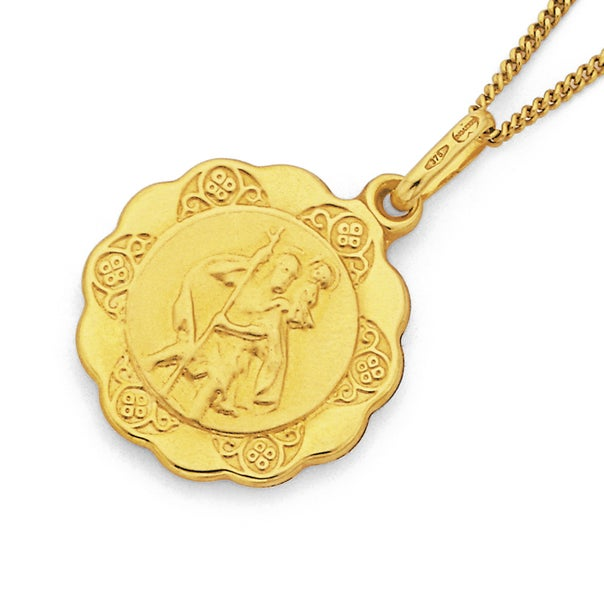 16mm St. Christopher Medal Pendant in 9ct Yellow Gold