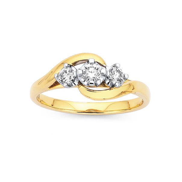 18ct 3 Stone Crossover Diamond Ring TDW=.34ct