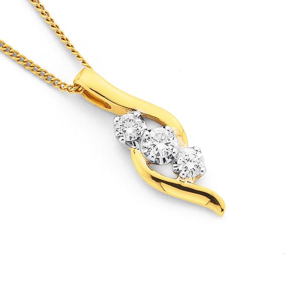 18ct 3 Stone Diamond Pendant TWD=.34ct
