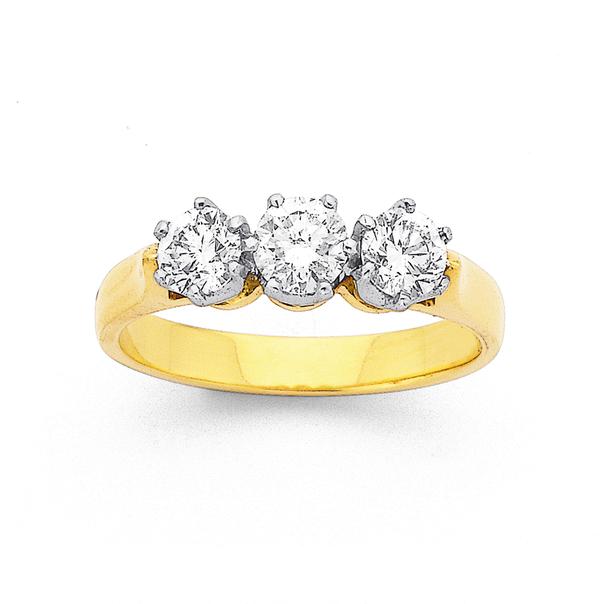 18ct 3 Stone Diamond Ring TDW=1.00ct