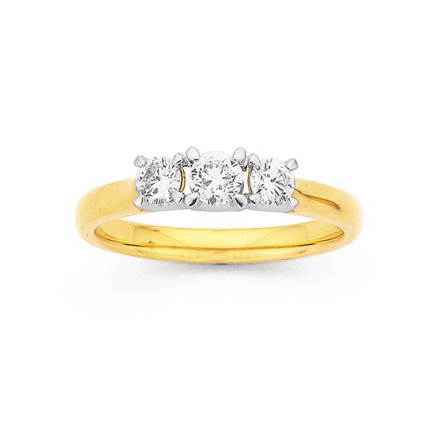 18ct 3 Stone Diamond Ring TDW=.50ct