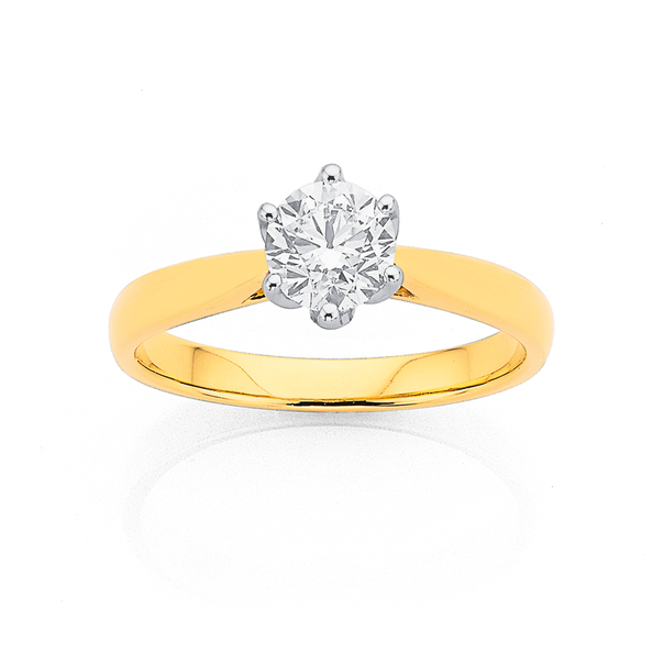 18ct 6 Claw Solitaire Diamond Ring TDW=.75ct