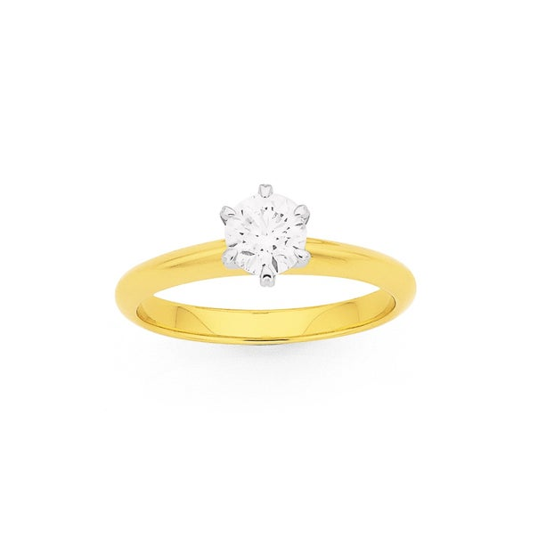 18ct, .70ct Diamond Solitaire Knife Edge Ring