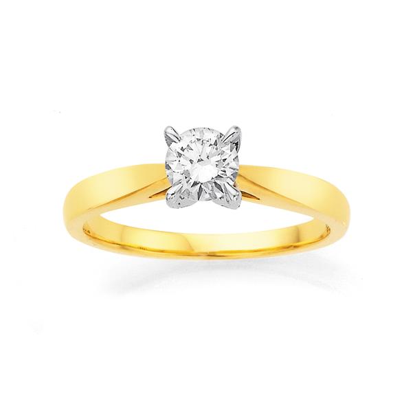 18ct  Diamond Solitaire Ring TDW=.50ct