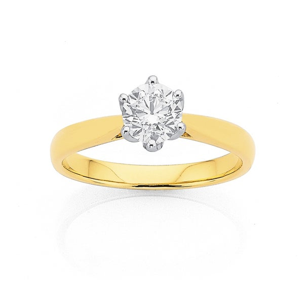 18ct Gold, .75ct Solitaire Diamond Ring