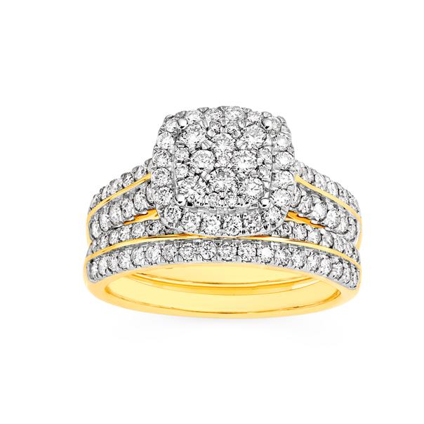 18ct Gold Diamond Cluster Cushion Shape Bridal Set