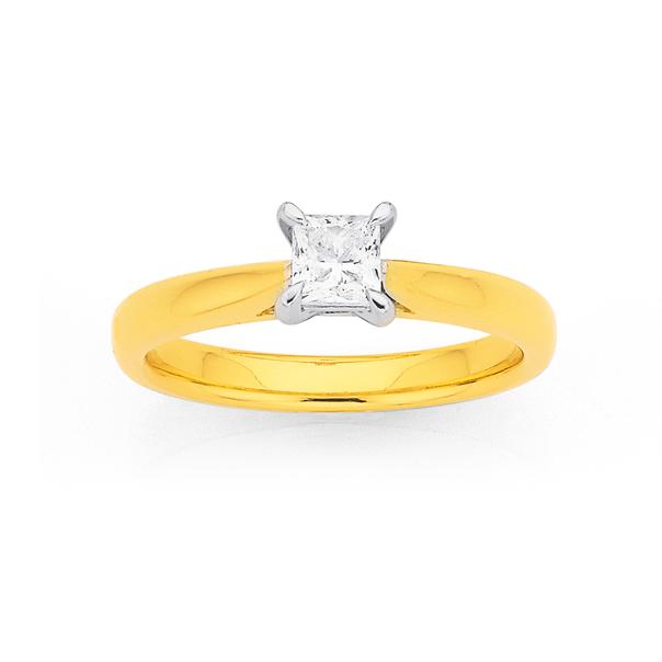18ct Princess Cut Diamond Solitaire Ring TDW.50ct