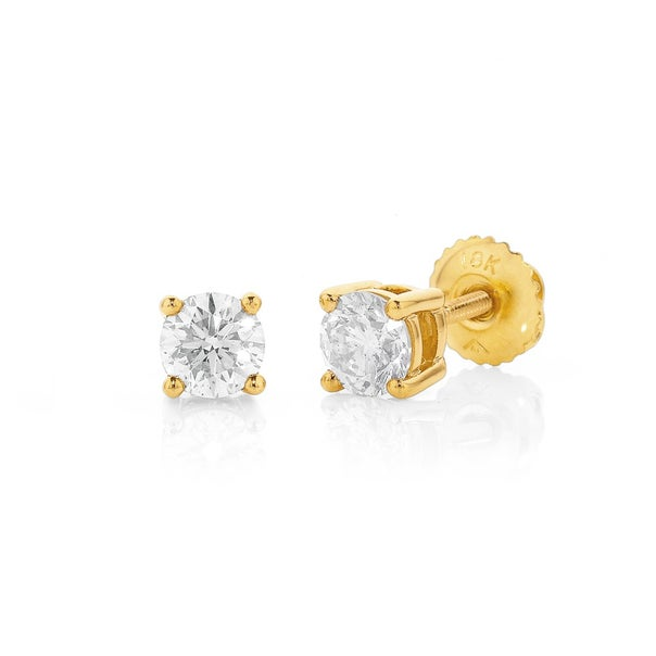18ct Screwback  Studs Total Diamond Weight=.75ct