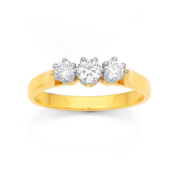 18ct Three Stone Diamond Ring TDW=.50ct