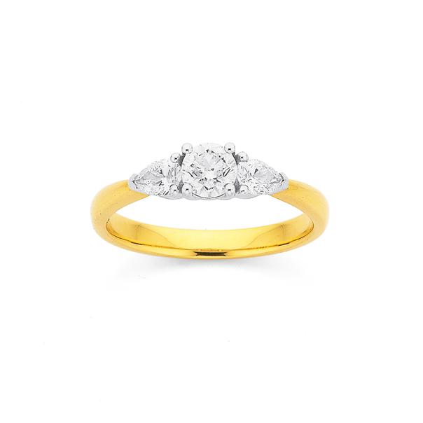 18ct Three Stone Diamond Ring TDW=.70ct