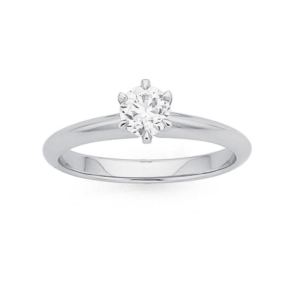 18ct White Gold .50ct Diamond Solitaire Knife Edge Ring