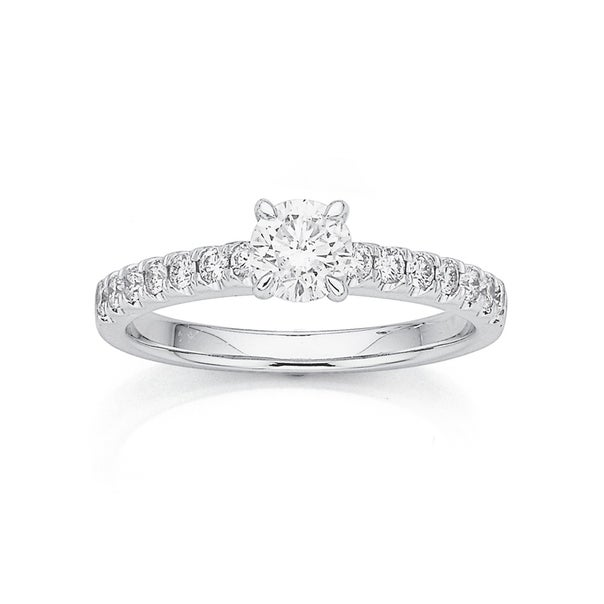 18ct White Gold .50ct Diamond Solitaire with Claw Set Shoulders Ring Total Diamond Weight =.80ct
