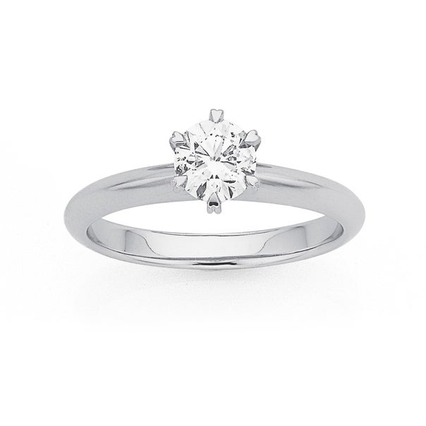 18ct White Gold .70ct Diamond Solitaire Knife Edge Ring