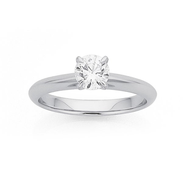 18ct White Gold, .70ct Diamond Solitaire Ring