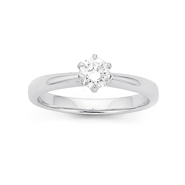 18ct White Gold Diamond Solitaire Ring TDW=.50ct