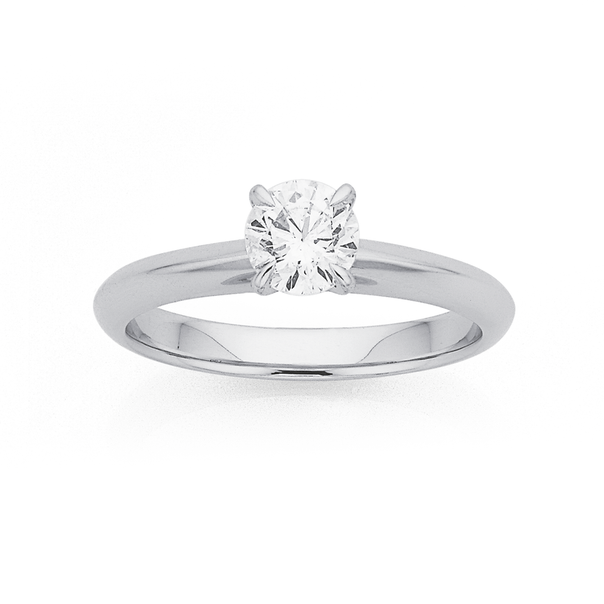 18ct White Gold Diamond Solitaire Ring TDW=.70ct