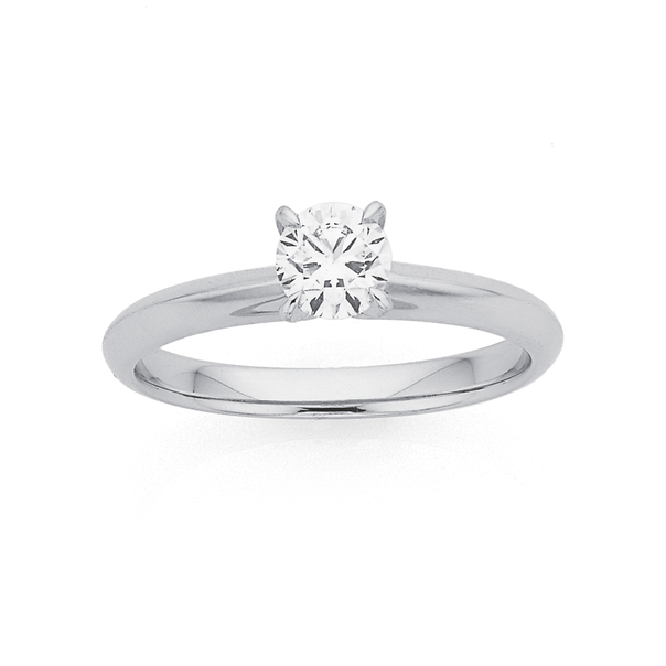 18ct White Gold Diamond Solitaire Ring TWD=.50ct