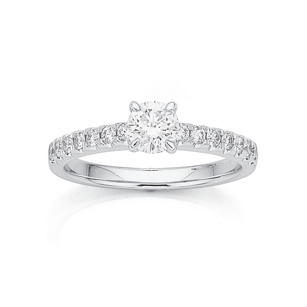 18ct White Gold Diamond Solitaire with Claw Set Shoulders Ring TDW=.80ct