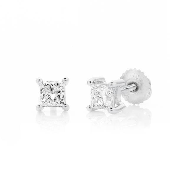 18ct White Gold Princess Cut Diamond Screwback Studs TDW=1.00ct