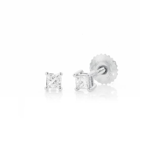 18ct White Gold Princess Cut Diamond Screwback Studs TDW=.25ct