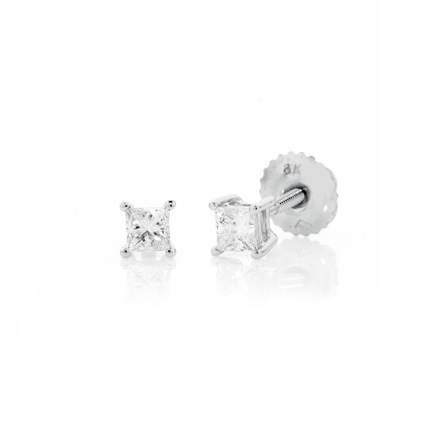 18ct White Gold Princess Cut Diamond Screwback Studs TDW=.34ct