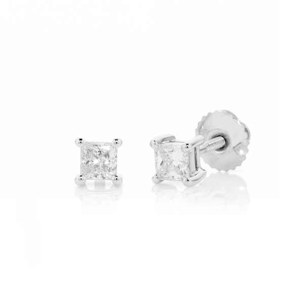 18ct White Gold Princess Cut Diamond Screwback Studs TDW=.50ct