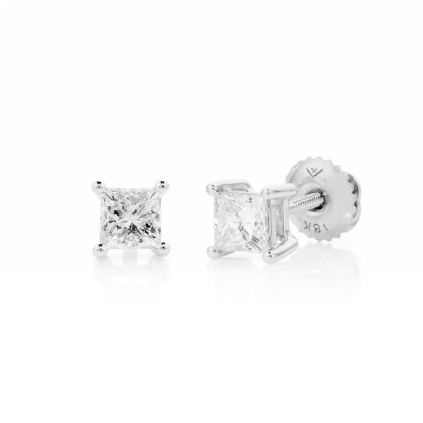 18ct White Gold Princess Cut Diamond Screwback Studs TDW=.75ct