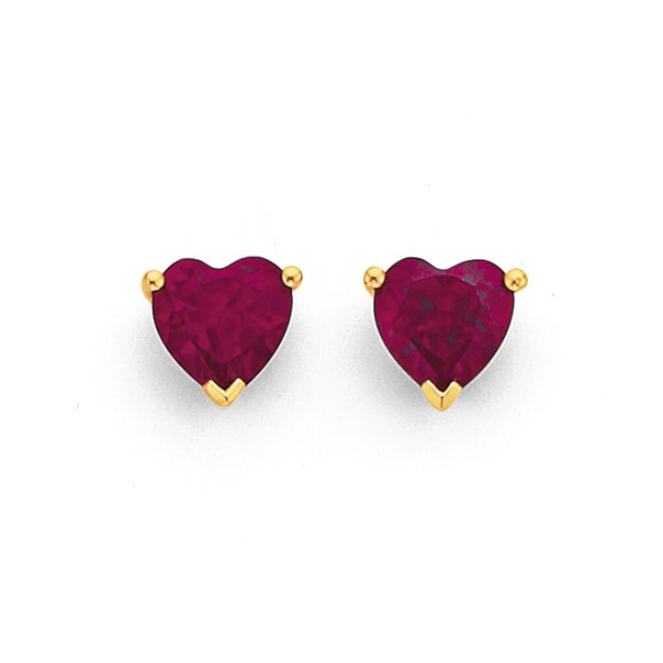 5mm Created Ruby Heart Stud Earrings in 9ct Yellow Gold