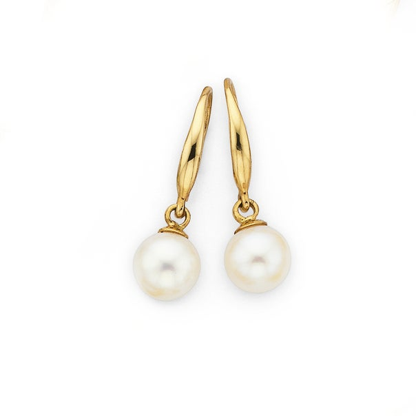 5mm Cultured Fresh Water Pearl Drop Earrings in 9ct Yellow Gold