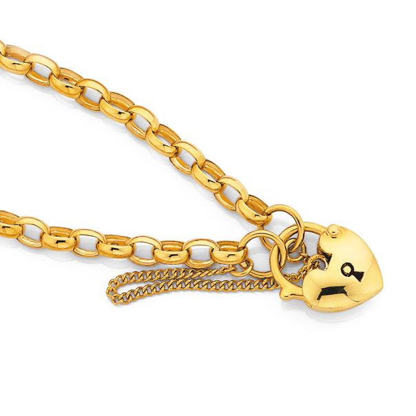 9ct 19cm Belcher Padlock Bracelet