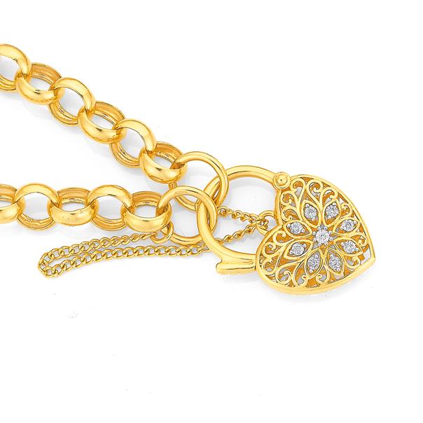 9ct 19cm Diamond Set Diamond Padlock Belcher Bracelet