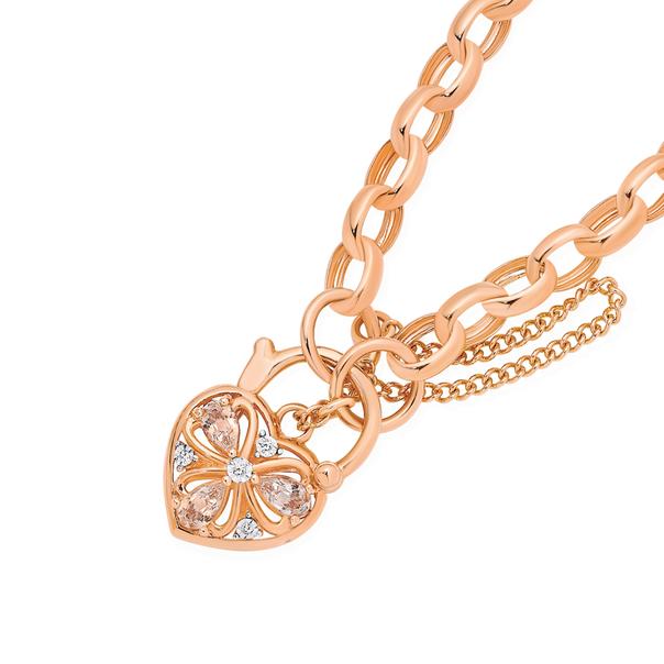 9ct 19cm Rose Gold Diamond & Morganite Belcher Padlock Bracelet