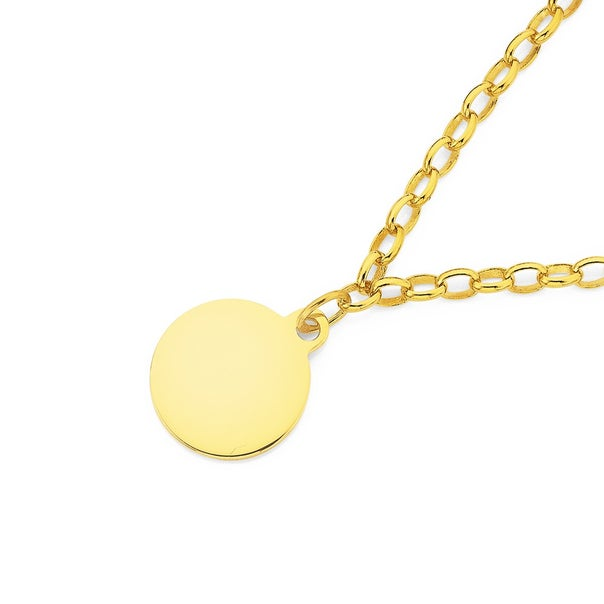 9ct 19cm Solid Oval Belcher Bracelet with Round Disc Charm