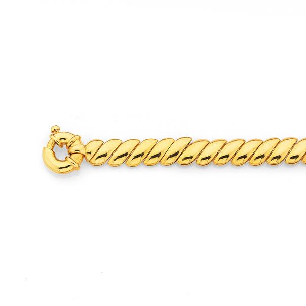9ct 19cm Wave Link Plain Bracelet