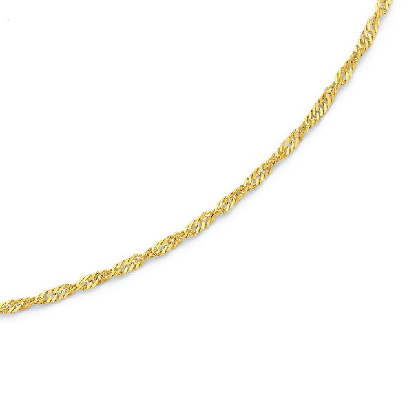 25cm Singapore Anklet in 9ct Yellow Gold