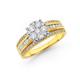 9ct 3 Row Cluster Diamond Ring TDW=1.00ct
