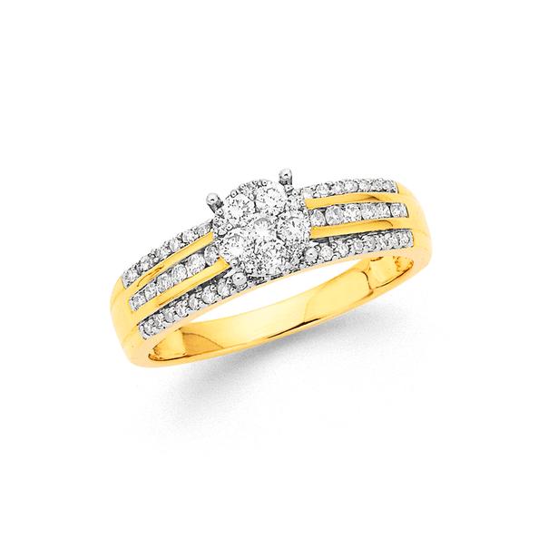 9ct 3 Row Diamond Cluster Ring TDW=.50ct