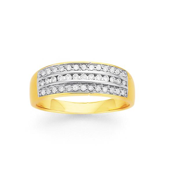 9ct 3 Row Diamond Ring TDW=.25ct