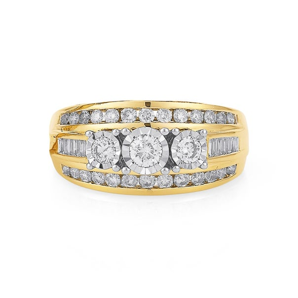 9ct 3 Stone 3 Row Miracle Set Band Total Diamond Weight=1.00ct