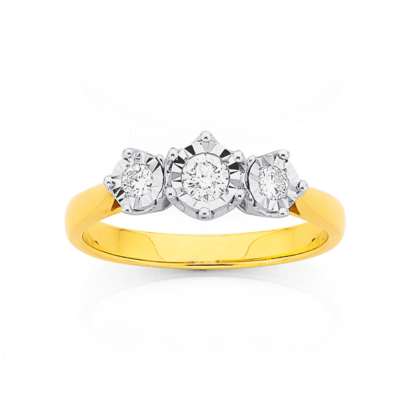 9ct 3 Stone Mirror Plate Diamond Ring TDW=.25ct