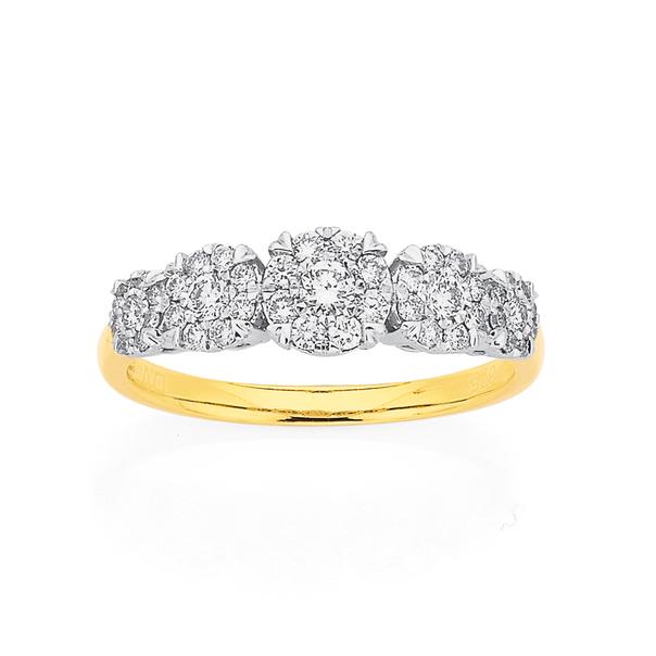 9ct 5 Cluster Diamond Ring TDW=.50ct