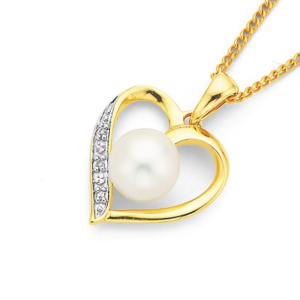 9ct 6mm Freshwater Pearl & Diamond Heart Pendant