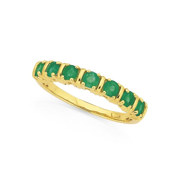 9ct 7 Stone Natural Emerald Ring