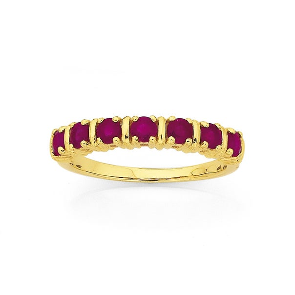 9ct 7 Stone Natural Ruby Ring