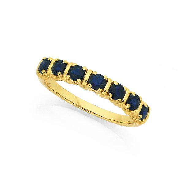9ct 7 Stone Natural Sapphire Ring