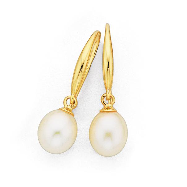 9ct 7mm Freshwater Pearl Teardrop Earrings